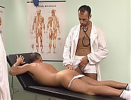 Doc slams his cock in his patient's mouth and opens him up for deep gay anal