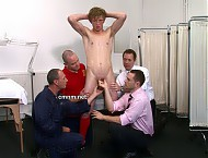 Football player Charlie has received a fully naked physical exam. In contrast to his trim muscular body, the sporty lad has a really heavy set of balls and a big clumsy penis. They cause him enormous ...