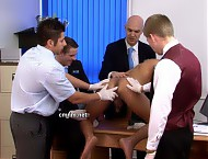 Fully test new bellboy Tony's ability to serve his guests, a valued customer is invited in to witness his total exposure and assist in his training. The nervous bellboy must offer up his arse to be pr...