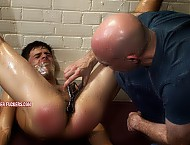 Tied, gagged, clothes cut off, arse spanked, naked body oiled up, sphincter fingered open, arsehole filled with ice water, made to rim a man, bastinado.